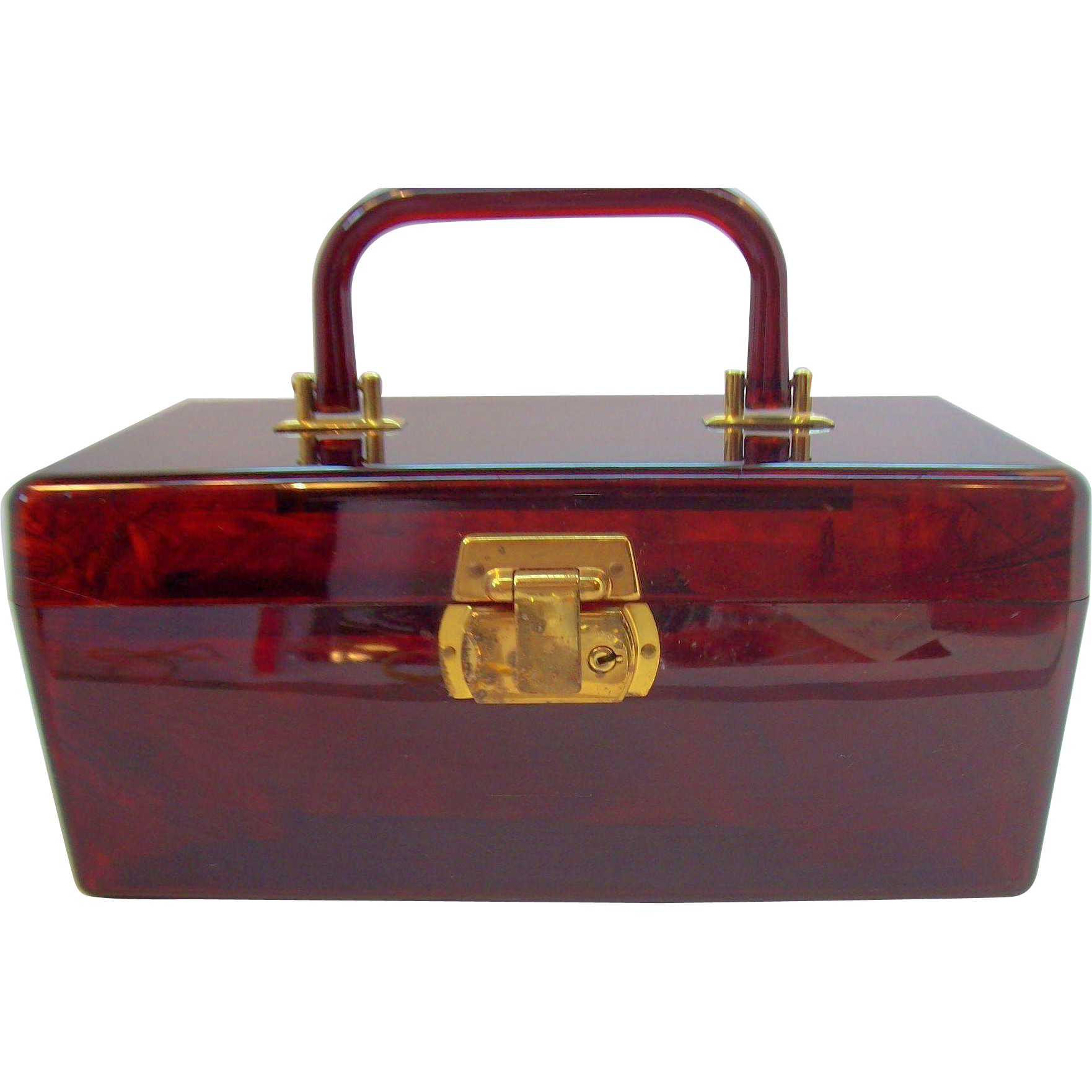vintage lucite cosmetic makeup vanity case with lock key 1960s from elainesjewelry on ruby lane. Black Bedroom Furniture Sets. Home Design Ideas