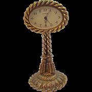 Vintage Guild Crest Goldtone Metal Boudoir Clock West Germany Not Working