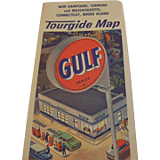 Vintage Gulf Gasoline Tourgide Map Of New Hampshire Vermont, Mass Connecticut RI