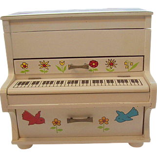 Vintage Painted Wooden Upright Piano Shaped Musical Box Circa 1970s
