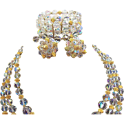 Vintage Laguna Crystal Aurora Borealis Beaded Necklace Bracelet & Clip on Earring Set