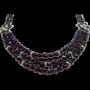 Vintage Carolee Black Glass Beaded Rhinestone Necklace