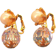 Vintage Newhouse Crystal Beaded Imitation Pearl Dangle Clip on Earrings