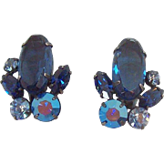 Vintage Blue Aurora Rhinestones Clip on Earrings
