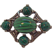 Vintage Miracle Green Glass Cabochon Stones Silvertone Metal Pin