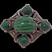 Vintage Miracle Green Glass Cabochon Stones Silvertone Metal Pin
