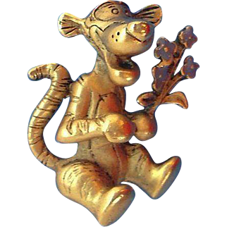Vintage Disney Goldtone Metal Tigger Pin