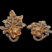 Vintage Coro Rhinestone Flowers Goldtone Metal Clip On Earrings