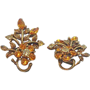 Vintage Coro Rhinestone Flowers Goldtone Metal Clip On Earrings