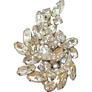 Vintage Large Layered Clear Rhinestone Silvertone Metal Brooch