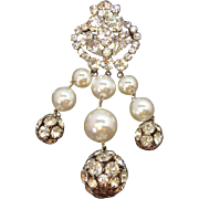 Vintage Large Dangle Rhinestone Imitation Pearl Brooch Circa 1950s