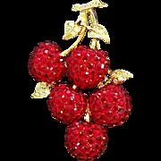 Vintage Vibrant Red Rhinestones Cherries Brooch Signed Suzanne Bjontegard