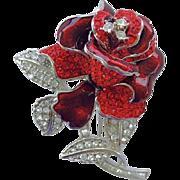 Vintage Nolan Miller Dimensional Red Rose Rhinestone Brooch