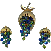Vintage Blue Green Aurora Crystal Beaded Dangle Grape Cluster Set