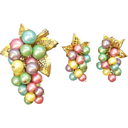 Vintage Parklane Pastel  Imitation Pearl Beaded Grape Cluster Dangle Brooch Clip on Ear Set