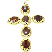 Edwardian Era Large Goldtone Metal Cross Pendant with Red Stones