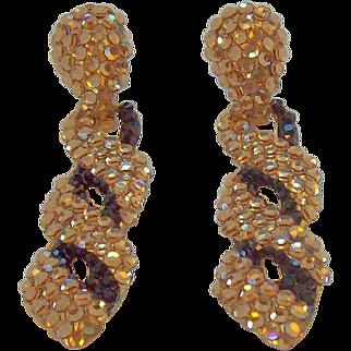 Vintage Dangle Metallic Goldtone & Black Rhinestone Earrings Bellini for Formart