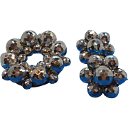 Vintage Laguna Metallic Silvery Glass Beaded Brooch & Earrings Set