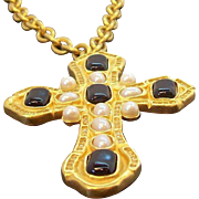 Vintage Ivana Large Goldtone Metal Cross Pendant Necklace or Brooch