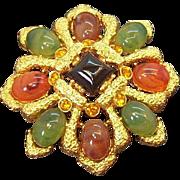 Vintage Textured Goldtone Metal Brooch Imitation Semi Precious Stones Joan Rivers