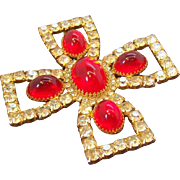 Vintage Huge Bill Smith for Richelieu Brooch Red Rhinestone Cross Brooch Pendant