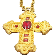 Vintage Large Heavy Goldtone Metal Cross Necklace with Red Stones