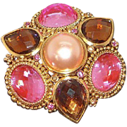 Vintage Pink  Imitation Champagne Pearl Brooch Joan Rivers