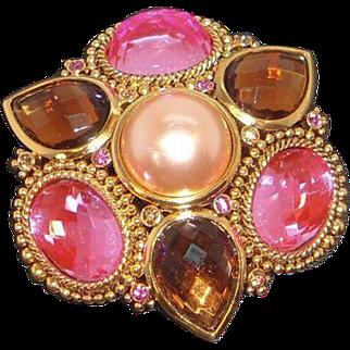 Vintage Pink  Imitation Champagne Pearl Brooch Joan Rivers