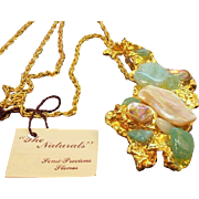 Vintage Goldtone Nugget Style Pendant with Semi-Precious Stones Original Hang Tag