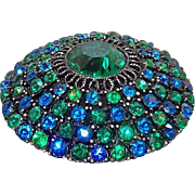 Vintage Round Domed Blue Green Rhinestone Brooch R Mandle
