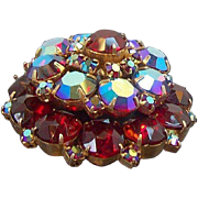 Vintage Dimensional Layered Round Red Aurora Rhinestones Brooch