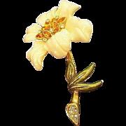 Vintage Dimensional Rhinestone Flower Brooch  Signed Nolan Miller