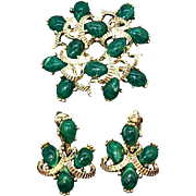 Vintage Marvella Goldtone Metal Green Brooch and Dangle Earring Set