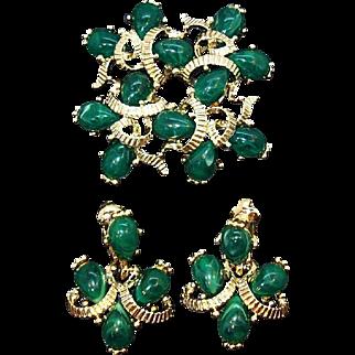 Vintage Marvella Goldtone Metal Green Brooch and Dangle Earring Set