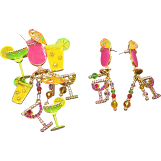Vintage Lunch At The Ritz To Go Fun Colorful Dimensional Dangle Rhinestone Cocktails Set