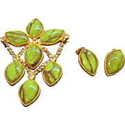 Vintage Goldtone Metal  DeLizza & Elster Brooch Ear Set  Green Marbled Stones