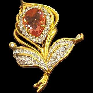Vintage Goldtone Metal Pink Rhinestone Flower Brooch  Nolan Miller