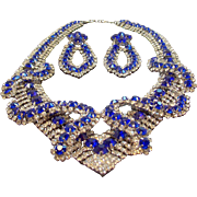 Vintage Dimensional Blue Rhinestone  Necklace Statement Set Signed Iman MIB
