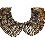 Vintage Black Rhinestone Goldtone Metal Bib Necklace by Iman MIB