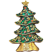 Vintage Large Goldtone Green Enameled Rhinestone Christmas Tree Brooch