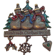 Vintage Pewtertone Metal Trio of Snowmen Dangle Christmas Brooch