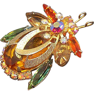 Vintage  Delizza and Elster Goldtone Metal Rhinestone Bug Insect Brooch