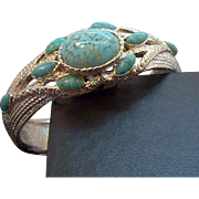 Vintage Crawford Hidden Wristwatch Silvertone Bangle Bracelet Blue Cabochon Stones