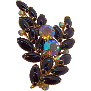Vintage Dimensional Black Cabochons Aurora Rhinestones Brooch