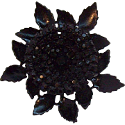 Vintage Weiss Dimensional Black Japanned Metal Glass Stones Flower Brooch