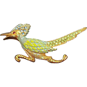 Vintage Goldtone Enameled Rhinestone Roadrunner Brooch Ultracraft