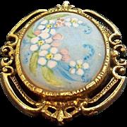Vintage Goldtone Metal Handpainted Porcelain Floral Brooch