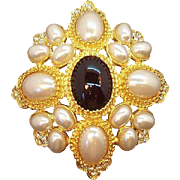 Vintage Black Cabochon Imitation Pearls Brooch Domed  Brooch Graziano