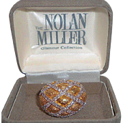 Vintage Nolan Miller Domed Goldtone Silvertone Metal Rhinestone Ring in Original Box Size 8