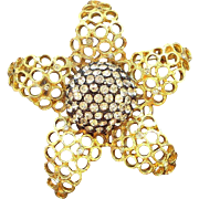 Vintage Coro Dimensional Goldtone Metal Rhinestone Flower Brooch